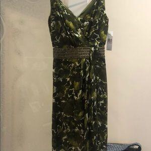 Carmen Marc Valvo green print silk dress NWT